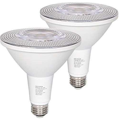 Outdoor LED Flood Light Bulb, PAR38, 3000lm, 25W(300 Watt Equivalent), Replacement for Halogen Flood Spot Light, Waterproof, Dimmable, 5000K Daylight, E26 Base (2 Pack)