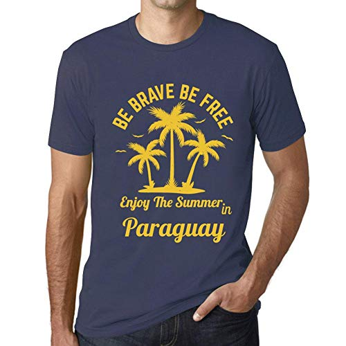 Hombre Camiseta Gráfico T-Shirt Be Brave & Free Enjoy The Summer Paraguay Azul Oscuro