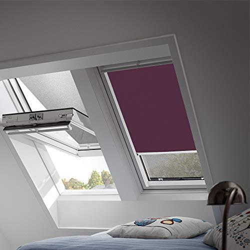 VELUX Original Verdunkelungsrollo für Dachfenster mit weißen Seitenschienen, FK06, Uni Violett/DKL FK06 4561SWL