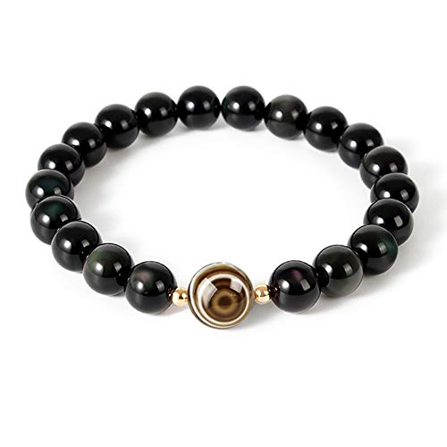 L&C Feng Shui Black Obsidian Beaded Bracelet - Women Mens 8MM Natural Obsidian Crystal Evil Eye Agate Relief Reiki Healing Stone Protection Link Bracelet Bring Luck Prosperity Wealth (Black Evil Eye)