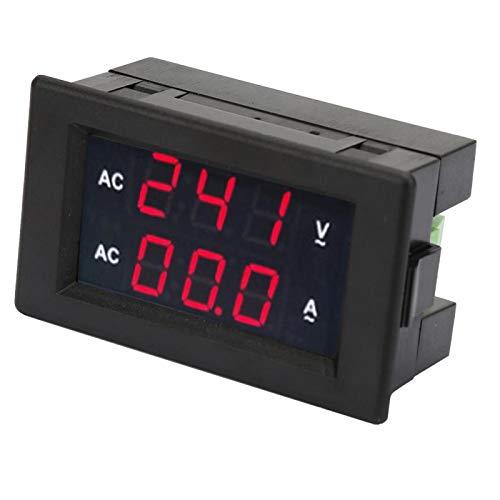Voltímetro digital amperímetro, pantalla digital LED, voltímetro de CA 100~300 V, amperímetro 0-10 A, con un transformador de alta precisión, fácil de instalar(Rojo + rojo)