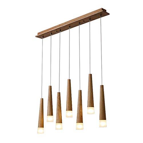 LED Esszimmer Pendelleuchte 7 Flammig Modern Holz Esstisch Hängeleuchte, Rustikal Einfach Design Leuchte, Kronleuchter Esszimmerlampe Esstischlampe Beleuchtung, Acryl Schirm, G4 Lampe 3W Warm Licht