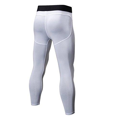 Mannen Compressie Base Layer Leggings Gym Joggen Hardlopen Fitness Troussen Elastische Cropped Broek S Kleur: wit
