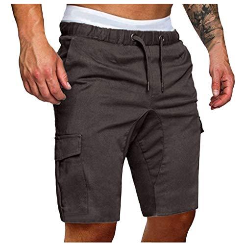 BOLANQ Jogginghose Herren, Herren Jogginghose Hose Lässige elastische Jogginghose Sport Solide Baggy Pockets Hose(XX-Large,Dunkelgrau)