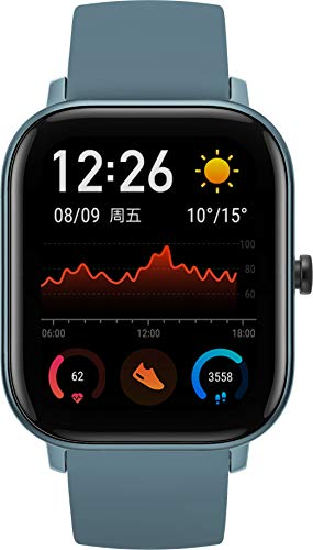 Amazfit GTS Smartwatch - mit Herzfrequenz-Messung, AMOLED-Display, Gorilla Glass 3 - 5ATM wasserdicht, Steel Blue