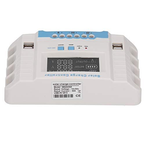 Jeanoko Controlador Solar 30A Controlador de Carga Solar intuitivo para Usar en el hogar MG2430Z para el Control del hogar