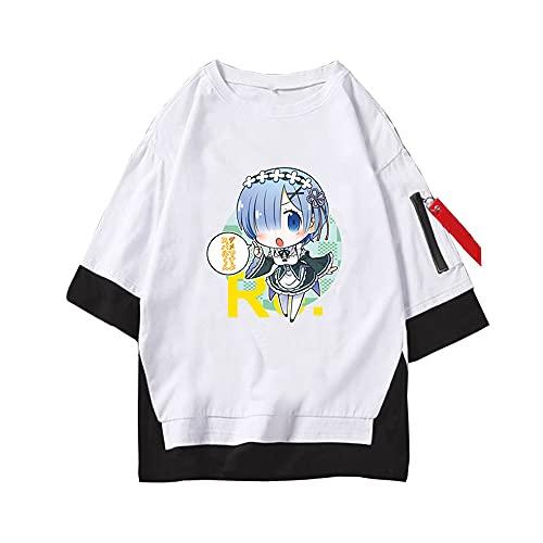 MLX-BUMU Re: Life In Another World from Scratch Camiseta De Anime con Estampado Gráfico, Camisetas De Verano, Ropa De Calle,M