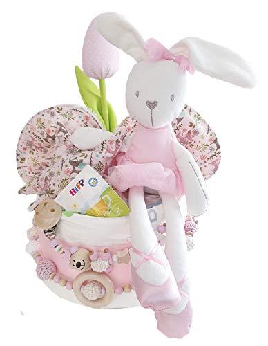 Luier taart XXL met gratis geschenk voor de moeder – knuffelhaas, fopspeenketting & kinderwagenketting, spuugdoek, kersenpitkussen – cadeau, babyparty, geboorte, handgemaakt