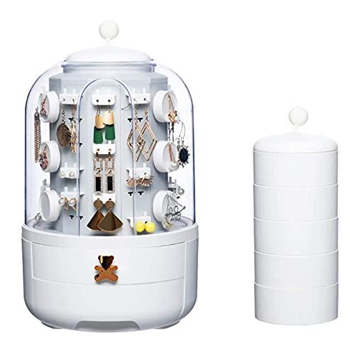 Caja de Joyería Giratoria, 360 ° Caja de Almacenamiento de Joyería a Prueba de Polvo Giratorio Caja Joyero con 39 Ganchos 2 Cajones para Pendientes Collares Anillos