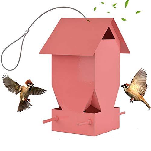Ifukens バードフィーダー 野鳥 小鳥 鳥の餌箱 吊り下げ おしゃれ ピンクの家 スタンド 金属製 インコ 文鳥 給餌器 餌入れ 自動給餌器 野鳥観察 餌台 餌場 鳥用品 ペット用品 Bird Feeder