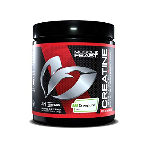 MUSCLE FEAST Creapure Creatine Monohydrate Powder | Premium Pre-Workout or Post-Workout | Easy to Mix, Gluten-Free, Safe and Pure, Kosher Certified (300g, Fruit Punch)