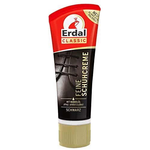 Erdal Feine Schuhcreme schwarz, Tubencreme für Glattlederschuhe, mit echtem Mandelöl, 1er Pack (1 x 75 ml)