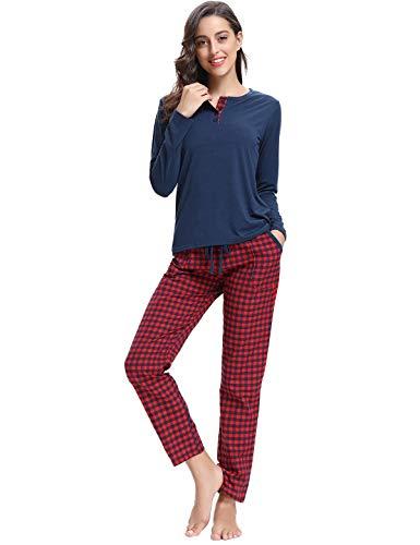 Abollria Pijamas Mujer Algodon Ropa de Domir Elegante Manga Pantalon Largos (M, Azul Oscuro_2)