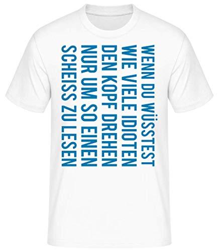 Shirtinator Wie viele Idioten drehen den Kopf | Geschenkidee Idioten T-Shirt für Herren | Witziges T-Shirt Original (Weiß, L)