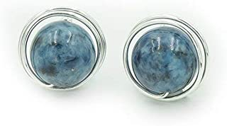 Sterling Silver Denim Lapis Posts ~ Natural Stone