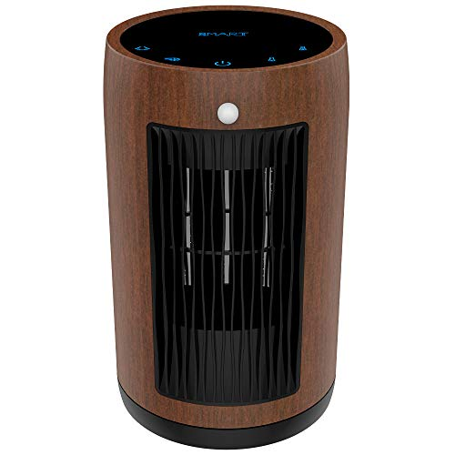 XBUTY Ceramic Space Heater - 1500W Portable Heater with Multi-protection and 3500R/M High-speed Fan, 3 Settings, PA66, 90° Oscillation, Smart PIR, ETL Listed,for Home and Office, 2-Year Warranty,Brown Ceramic Heater Space