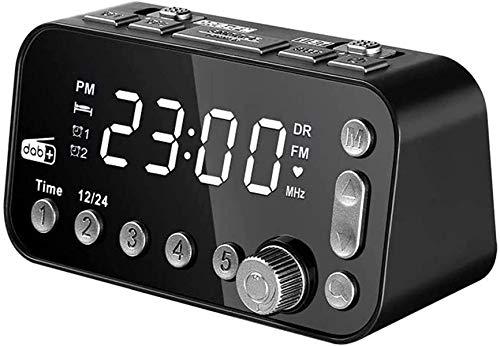 Reloj de Alarma Digital LED, Reloj de Alarma Dab / FM en la cabecera, Dos Puertos USB, Brillo de Tres etapas Ajustables, Dos ajustes de Alarma (sin batería)