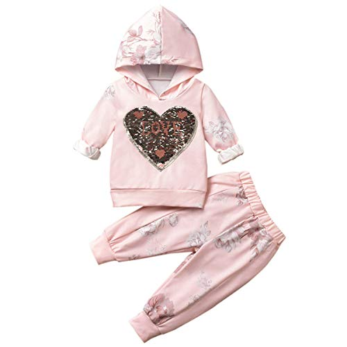 puseky bébé Enfants Fille Paillettes Coeur à Manches Longues à Capuche Shirt Top + Pantalon survêtements Ensemble