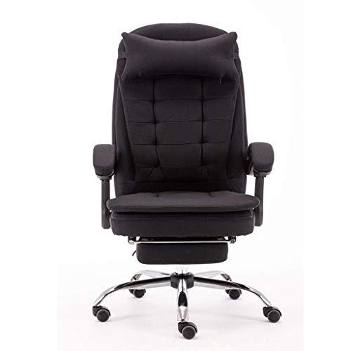 Silla de escritorio de oficina ergonómica para computadora, tela extraíble y lavable con reposapiés para el hogar, almuerzo, sillón reclinable (color marrón