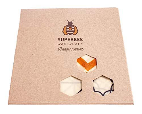 SuperBee Wax Wraps | Bienenwachstücher | BEEginnerset | 3 Tücher | Klassik Gemischt