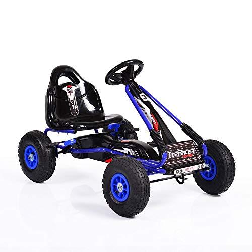 Moni Kinder Go Kart, Tretauto Top Racer, Luftreifen, Verstellbarer Sitz, Handbremse (Blau)