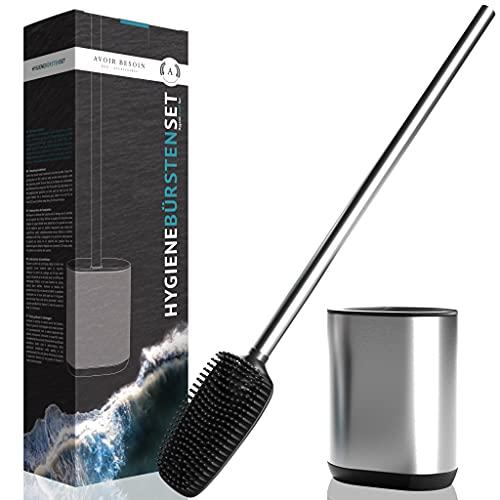 AVOIR BESOIN Hochwertige Premium Silikon Toilettenbürste I Silikon Flex Toilettenbürste Set mit langem Stiel aus Edelstahl, Silikon-Lamellen und Schaber - Silikon Toilettenbürste flach