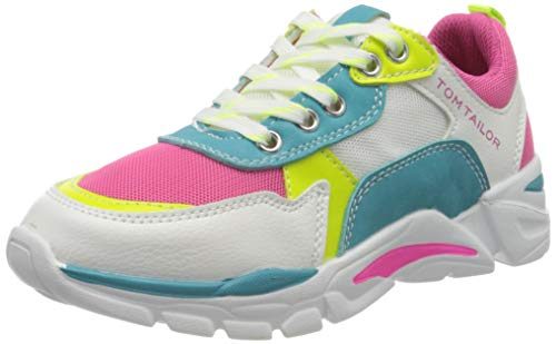 TOM TAILOR Damen 8073902 Sneaker, Mehrfarbig (White-Pink-Yellow-Turkis 02715), 36 EU