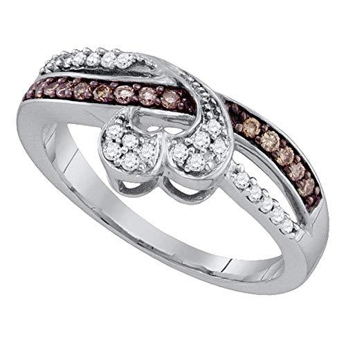 Saris and Things Oro Blanco 10k Ronda Marrones para Mujer del corazón del Diamante Anillo de la Venda 1/4 cttw
