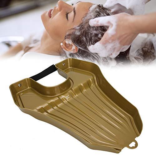 Bandeja de lavado de cabello, lavabo portátil para champú, bandeja de champú, lavabo de lavado de cabello para mujeres embarazadas mayores, cuenco de retrolavado de peluquería, tina de lavado (dorado)
