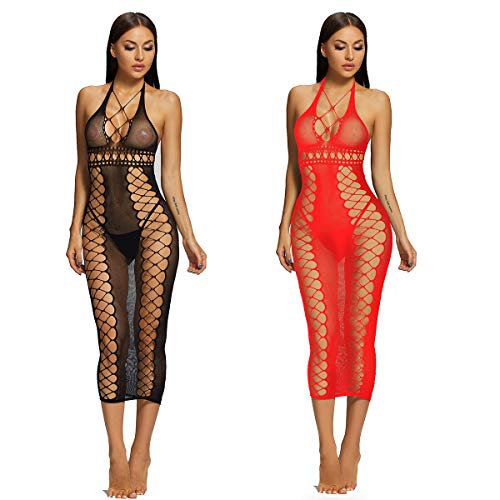 LOVELYBOBO 2 Pack Sexy Mini Robe Femme Erotique Mini Jupon Dos Nu Cuir Cosplay Body Transparent Bustier Corset Bodycon Clubwear Robe Moulante