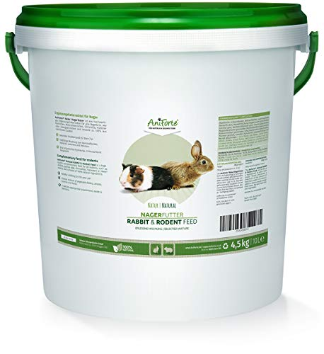 AniForte Natur Nagerfutter 10 Liter für Nager, Hamster, Meerschweinchen, Kaninchen - Artgerechtes Ergänzungsfuttermittel, Nagetier Futter mit Erbsen, Weizen, Mais, Luzerne, Löwenzahn
