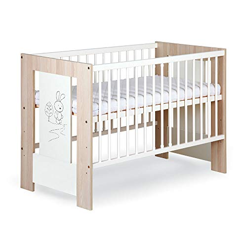 Kinderbett, Hase, 60 x 120 cm, Weiß und Naturholz, inkl. Lattenrost
