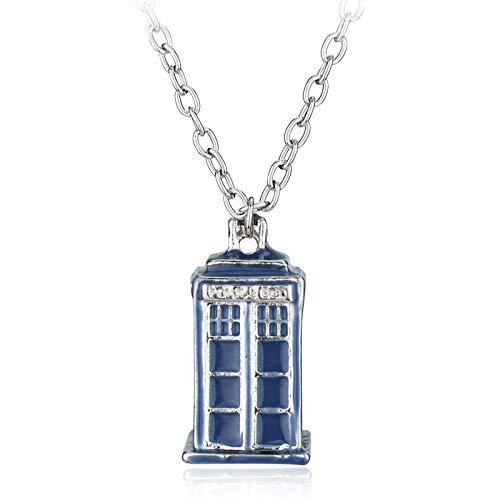 guodong Caja De Policía Casa Colgante Y Collares De Aleación Collar De Dr Who Colgantes De Halloween Joyas De Película
