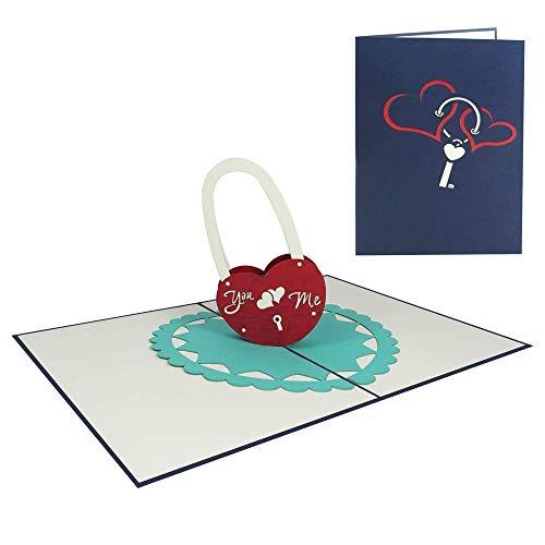 Pop Up Karte 3D Herz Ich liebe dich Geburtstagskarte Verliebte Valentinstag Jahrestag Glückwunschkarte Geburtstag Love Lock - Liebesschloss & Herzen 036