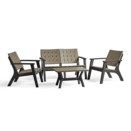 VonHaus Garden Sofa Set - Durable All Weather Wood Effect Plastic – 2 Chairs, Sofa and Table – 4 Seater Outdoor Garden Furniture for Patio, Decking, Balcony, Conservatory – Black and Grey