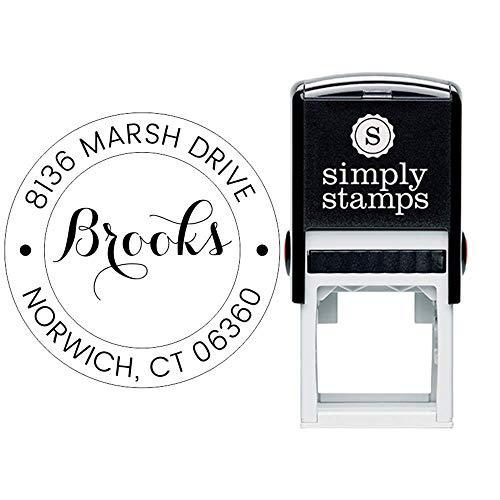 Custom Monogram Address Stamp Calligraphy Round | Custom Return Address Stamp | Self-Inking Stamp | Personalized Address Stamps |