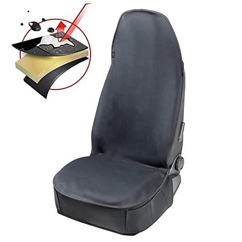 Walser Autositzauflage Neopren, Sitzschoner wasserdicht, Universal Schutzauflage und Schutzunterlage für Pkw und LKW, Farbe: schwarz 13984