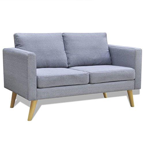 Lingjiushopping canapé en tissu 2 places gris chiarocolore : gris clair matériau : Structure en bois + tessutodi haute qualit ¨ ¤