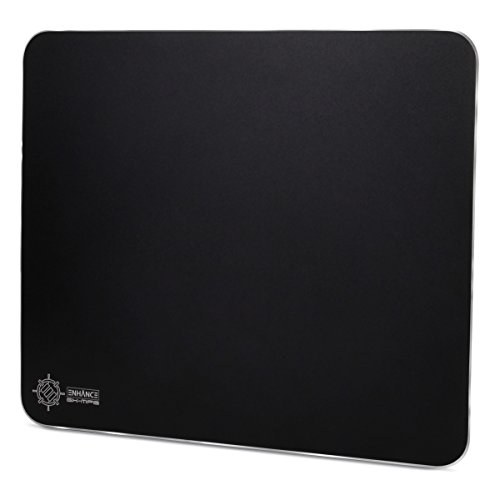 ENHANCE Aluminum Metal Gaming Mouse Pad - Hard XL Mouse Mat Surface, Non-Slip Rubber Base & High Accuracy Optimized Tracking - Brushed Metal Sleek Surface for Responsive Control - Black