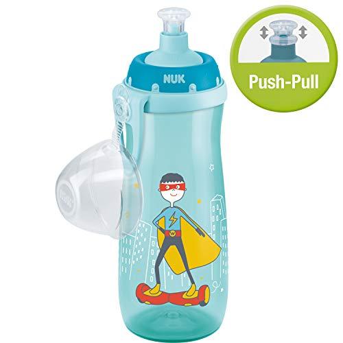 Nuk Sports Cup Trinklernflasche, auslaufsicher, Push-pull-Tülle aus Silikon, Schutzkappe & Clip, 450 ml, Held (Türkis/blau)