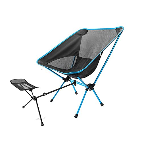 Silla de Camping Silla Plegable para Exteriores Portátil Ocio Camping Pesca con Pedal de reposapiés retráctil Respaldo de aleación de Aluminio Silla de Luna Silla de Playa