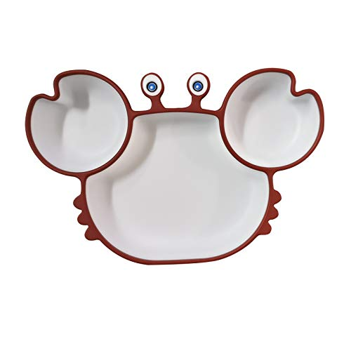Baby Dinner Plate,Silicone Grip Dish, All-in-one Baby Plates With Suction Divided Cartoon Crab Suction Cup Bowl Baby Spoon Fork Set For Toddlers, Silicone Plates For Kids With Suction Baby Dishes