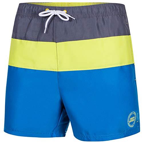Aqua Speed Badehose Männer | Beachvolleyball Schwimmhose Herren | Shorts Schwimmen | Mens Swim Trunks with Pockets | Surfer Shorts | Badeshorts mit Taschen | Gr. L, Blau - Gelb | Travis