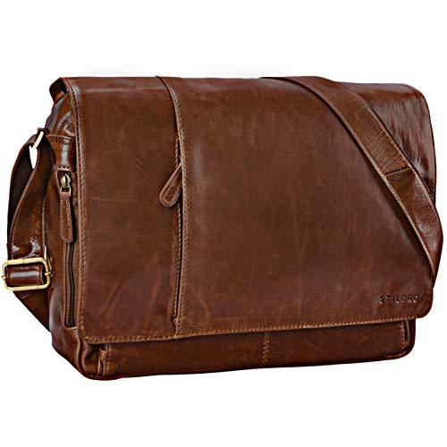 STILORD 'Elias' Messenger Bag Leder Herren Braun Kuriertasche Umhängetasche Unitasche Laptoptasche 15.6 Zoll Aktentasche Bürotasche Büffel-Leder