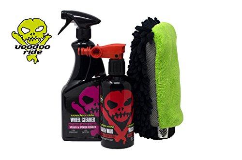 Voodoo Ride Exterior Starterset Autopflege Außenreinigung Auto Pflege Reinigung außen Lack Politur Felgenreiniger Fettlöser Waschahndschuh Reinigung Pflege Schutz Auto Scheiben