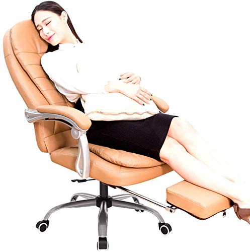 160 Grad Reclining Ergonomischer Bürostuhl, Einstellbarer High Back Gaming Chair mit Fußstütze Remover Lordosenstütze Computer-Executive Lederstuhl Heavy Duty ( Color : Brown , Size : With Foot rest )