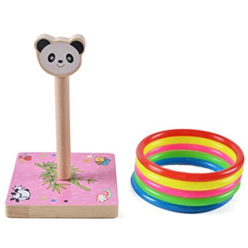 MYHH Kindergarten Kinder aus Holz Panda Tier Werfen Ring-Wurf Spiele Aktivitäten Spielzeug, Größe: 9 * 9 * 14.7cm. (Color : Color1)