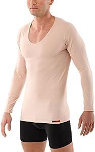 ALBERT KREUZ Camiseta Interior Invisible Color Carne/Piel/Beis de Manga Larga con Cuello de Pico y de algodón elástico 07/XL