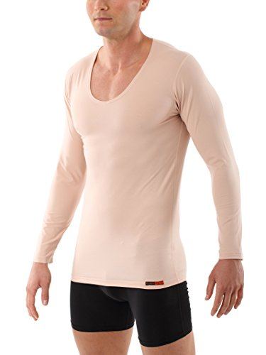 ALBERT KREUZ Camiseta Interior Invisible Color Carne/Piel/Beis de Manga Larga con Cuello de Pico y de algodón elástico