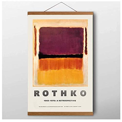 SBGM Póster de exposición de Mark Rothko para el Museo Guggenheim de Nueva York 1970 Museo Pintura Abstracta en Lienzo para decoración del hogar, impresión en Lienzo (50 x 75 cm) con Marco